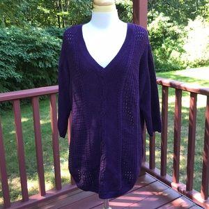 NWT! Torrid 2X purple V-neck knit sweater / top